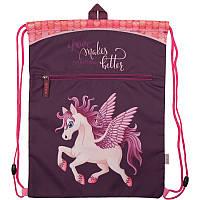 Сумка для обуви с карманом Kite Magic unicorn Бордовый K18-601M-9, КОД: 706148