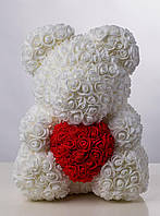 Мягкая игрушка Bear Мишка из роз с сердцем Белый 40 см 83434, КОД: 984709