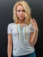 Женская футболка ЭТНО-СИТИ с вышивкой Снежинка XL Белая 062, КОД: 727330