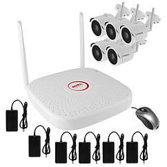 Комплект беспроводного WiFi видеонаблюдения на 5 камер 1 Мп на 300 метров LONGSE WIFI2008PG1S100-, КОД: 146788
