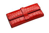 Кошелек из кожи крокодила Красный cw24, КОД: 191165