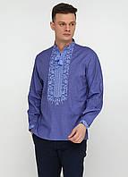 Льняная вышиванка УкрМода 48 р Синяя chsv-54-1-48, КОД: 1024803