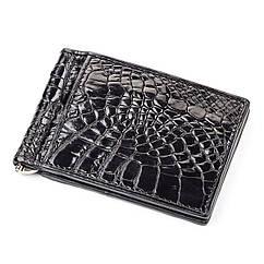 Зажим CROCODILE LEATHER 18050 из натуральной кожи крокодила Черный, Черный, КОД: 188778