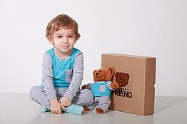 Комплект пижамка и мишка Lucky Friend 86 см Серо-голубой LF008, КОД: 261721