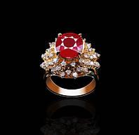 Золотое кольцо с рубином и бриллиантами Гелеос-8 размер 17 С18Л237, КОД: 957838