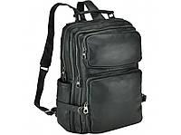 Рюкзак кожаный для ноутбука 15 15.6 мужской вместительный два отделения