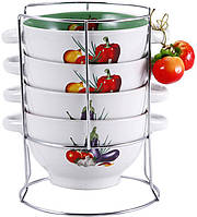Набор пиал-бульонниц Wellberg Овощи Mix-ІІІ 680 мл на подставке psgWB-20706, КОД: 945252