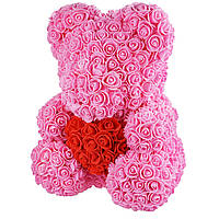 Bear Flowers Supretto Мишка из роз с красным сердцем Розовый 5529-0003, КОД: 314743