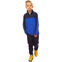 Костюм для тренировок по футболу детский LD-2003T-B (полиэстер, р-р 26-32, т.синий-синий)