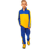 Костюм для тренировок по футболу детский LD-2003T-BY (полиэстер, р-р 26-32, синий-желтый)