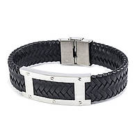Браслет из кожи широкий с серебристой пластиной 21 см Черный BSM006LR, КОД: 973825