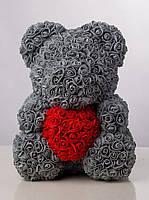 Мягкая игрушка Bear Мишка из роз с сердцем Серый 40 см 523754, КОД: 984731