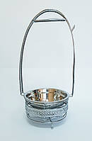 Удобный мангал - корзинка для переноски углей кальяна №2-2 Диаметр 18 см Высота 52 см  Глубина 10 см