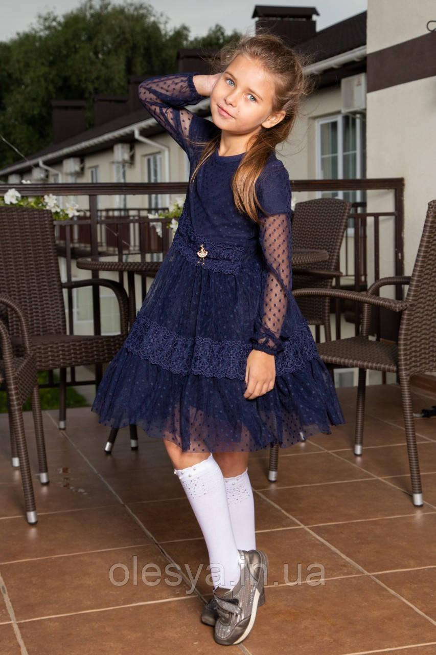 """Школьное, нарядное платье для девочки """"Герда"""". Размер 116 Синий"""