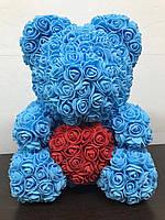 Мягкая игрушка Bear Мишка из роз с сердцем Голубой 40 см 82546, КОД: 984765
