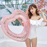 Надувной круг Сердце с блестками внутри 90 см - 152842