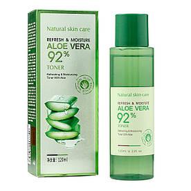 Тонер для особи Bioaqua Refresh&Moisture Aloe Vera 92% в прим'ятій упаковці