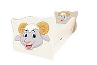 Кровать с ящиком Viorina-Deko Animal 12 Бараш Белый с серым 70×140