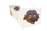 Кровать с ящиком Viorina-Deko Animal 17 Бык Кремовый/Шоколадный 70×140