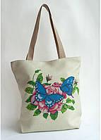 Сумка под вышивку бисером (нитками)  Бабочки на розах