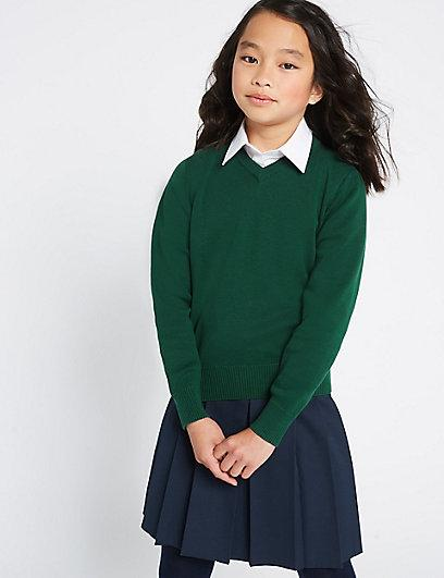 Школьный джемпер темно-зеленый на девочку 8-9-10 лет Unisex Cotton Rich Jumper Marks&Spencer (Англия)