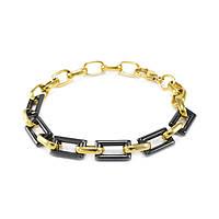 Керамический браслет прямоугольные звенья 17 - 20.5 см Черно-золотистый BS004CR, КОД: 973832