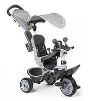 Велосипед детский трехколесный с козырьком и багажником Smoby Toys Беби Драйвер серый (741202)