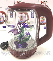 Чайник электрический из стекла с подсветкой Electric Kettle DT-2841 am