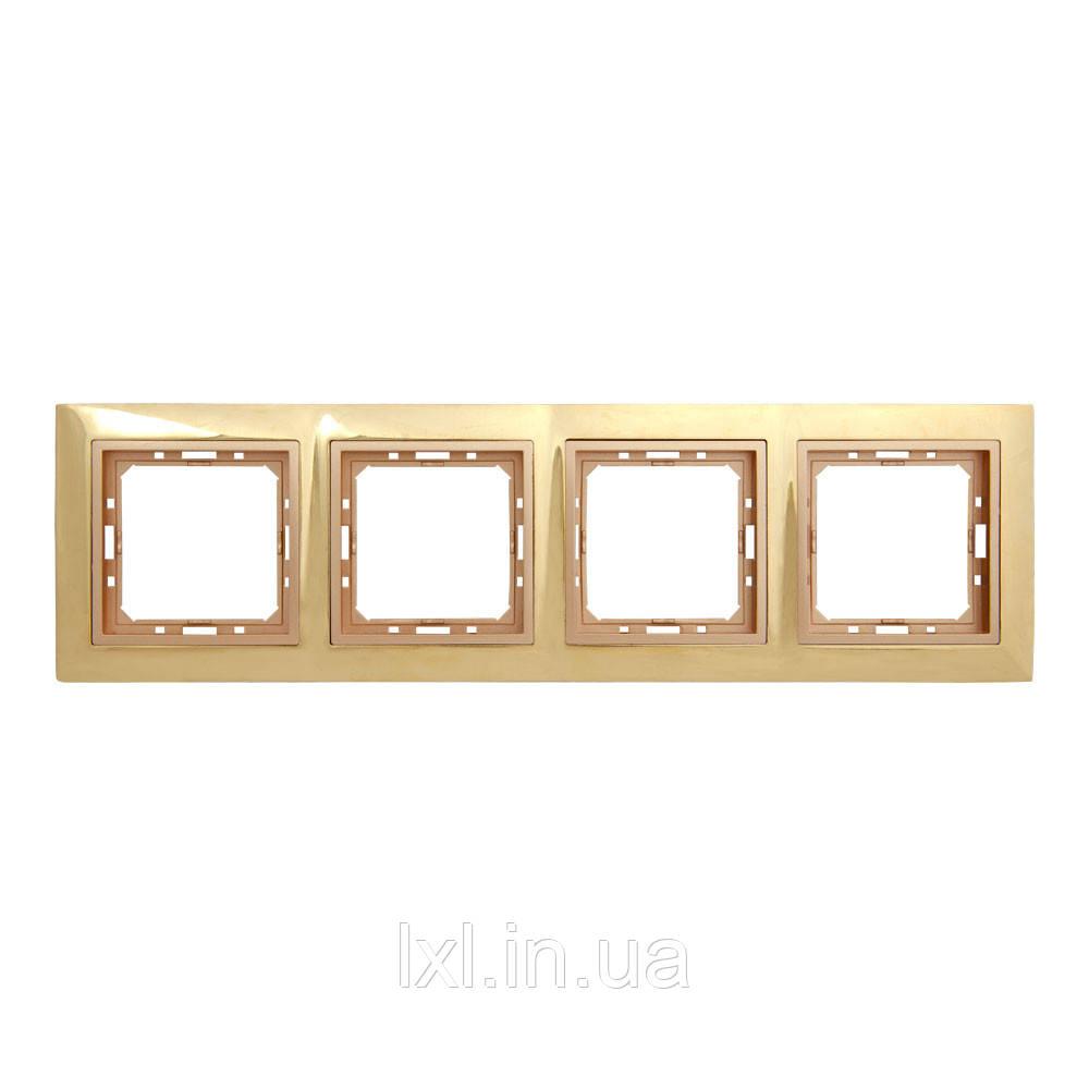 Рамка 4 места золотой/бронзовый TESLA (материал металл)