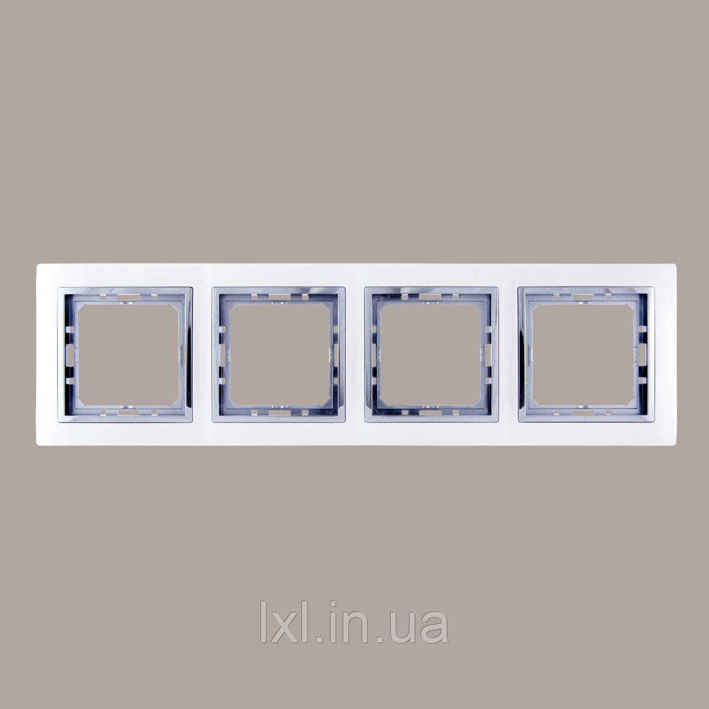 Рамка 4 места белый/хром TESLA
