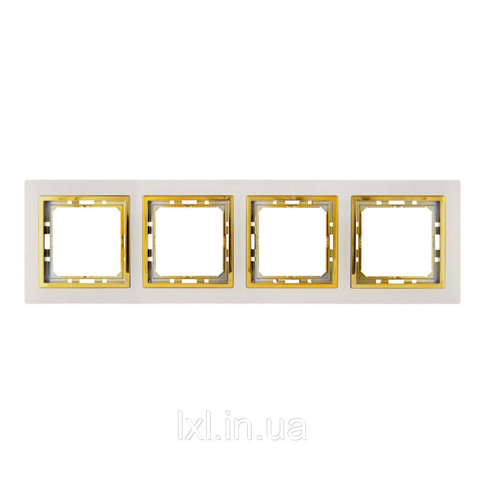 Рамка 4 места крем/золото TESLA