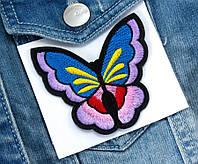 "(3шт) Термоаппликация 7,2х6,5см нашивка на одежду ""Бабочка"" Цена за 3шт"