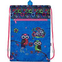 Сумка для обуви с карманом Kite Pretty owls Голубой K18-601M-1, КОД: 706145