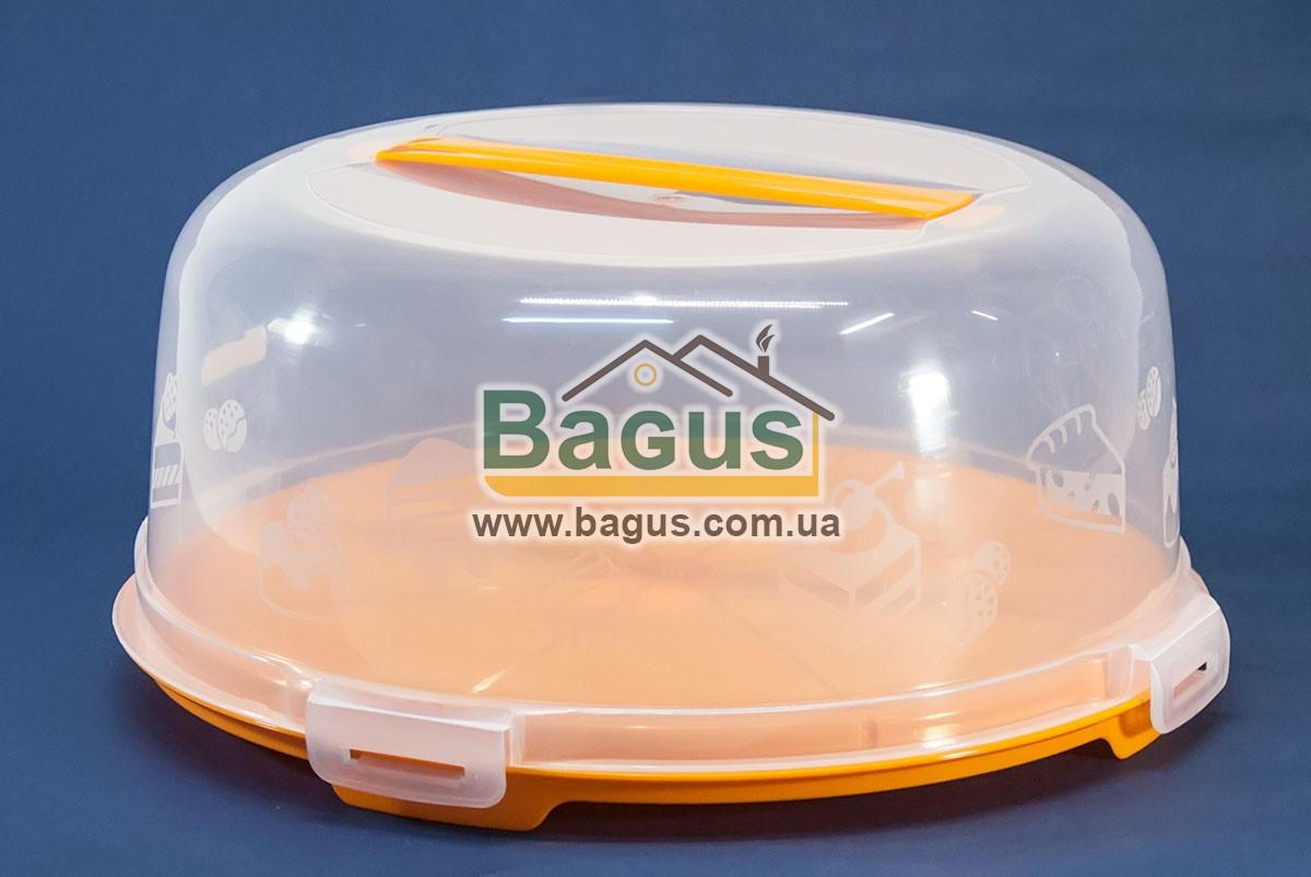 Тортовница круглая с крышкой 31cм пластиковая (цвет - оранжевый) Алеана ALN-169056-2