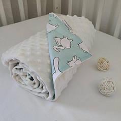 Плед для новорожденного в коляску 80х100 плюш мятный