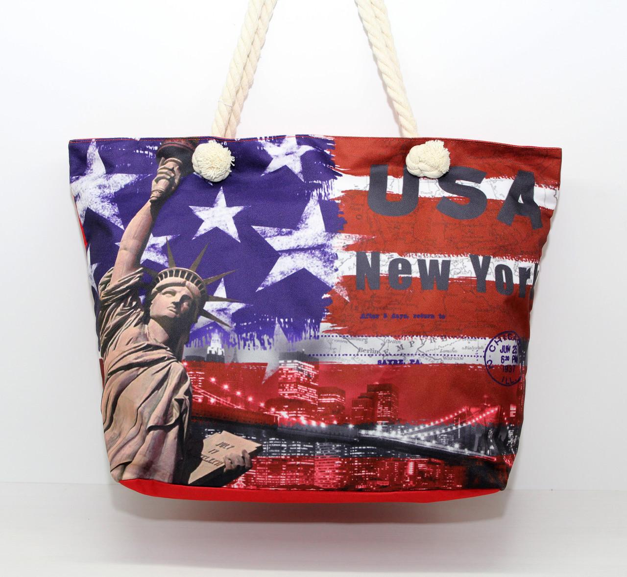 Жіноча тканинна пляжна сумка з канатними ручками і яскравим малюнком символіки США