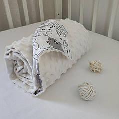 Плед для новорожденного в коляску 80х100 плюш белый
