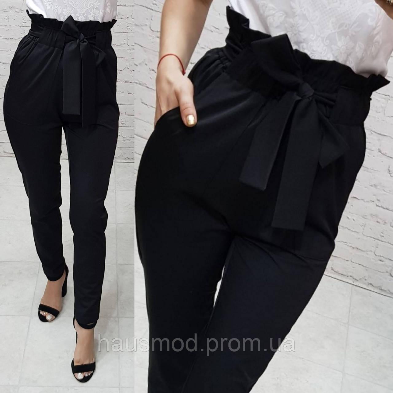 Женские брюки ткань креп костюмка талия завышенная цвет черный