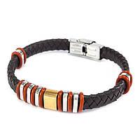 Браслет из кожи с красно-серебристыми вставками 21 см Коричневый BSM001LR, КОД: 973828
