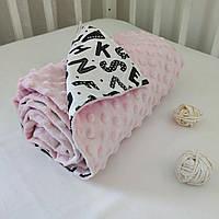 Плед для новорожденного в коляску плюшевый 80х100 Минки розовый