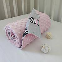 Детский летний плюшевый плед 80х100 для новорожденного Минки розовый