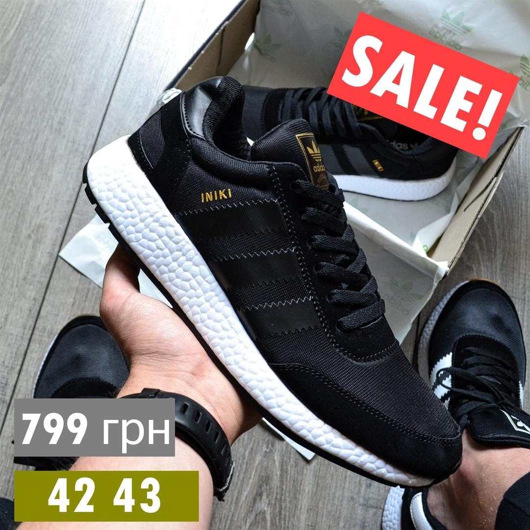 Мужские кроссовки Adidas Iniki Runner 'Core Black' черныелетние весенние. Живое фото (Реплика ААА+)