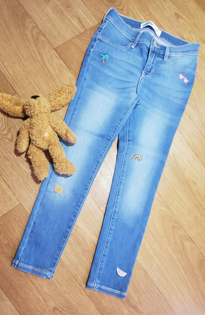 А1 Стильные светлые стрейчевые джинсы скинни с вышивкой Old Navy (США) (Размер 12Т)