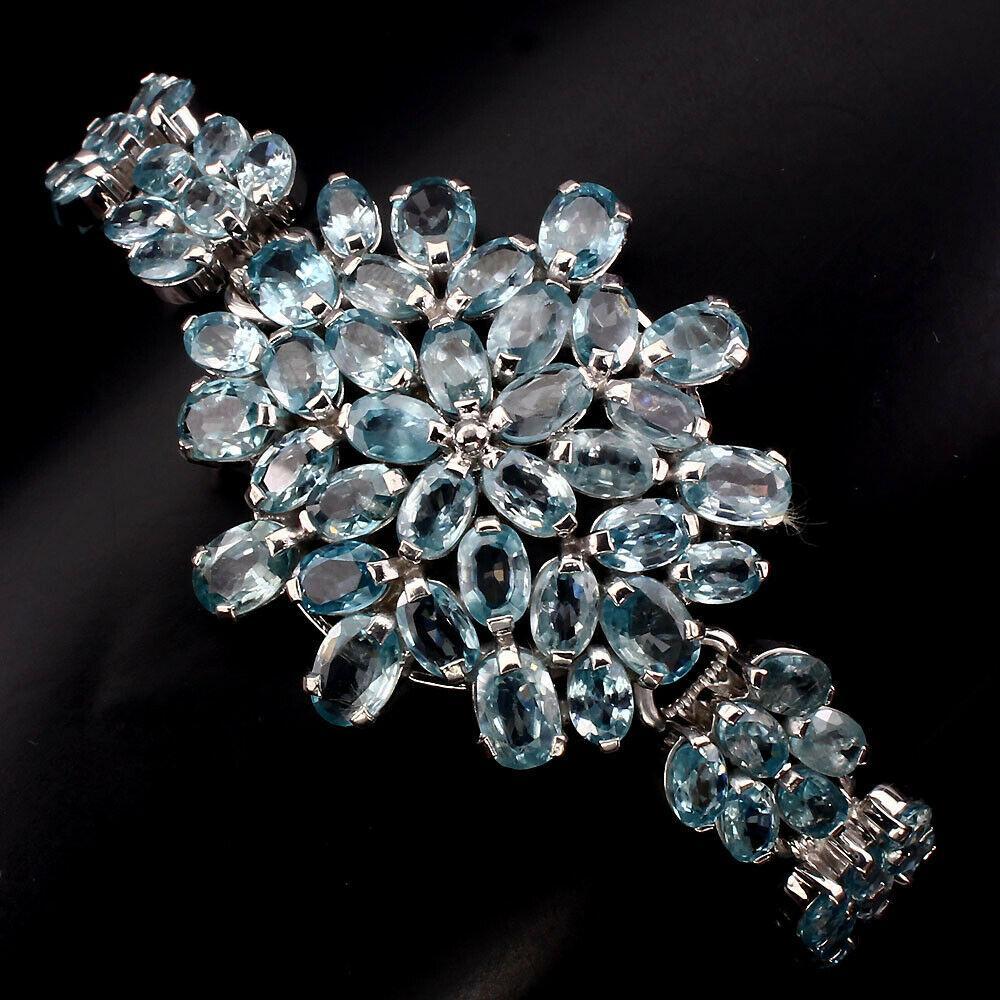 Срібний браслет Блакитні циркони