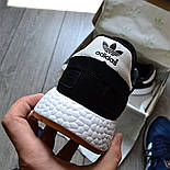 Мужские кроссовки Adidas Iniki Runner черные с белым летние весенние. Живое фото (Реплика ААА+), фото 5