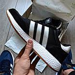 Мужские кроссовки Adidas Iniki Runner черные с белым летние весенние. Живое фото (Реплика ААА+), фото 6