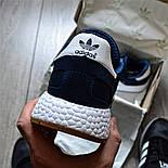 Мужские кроссовки Adidas Iniki Runner синий с белым летние весенние. Живое фото (Реплика ААА+), фото 2