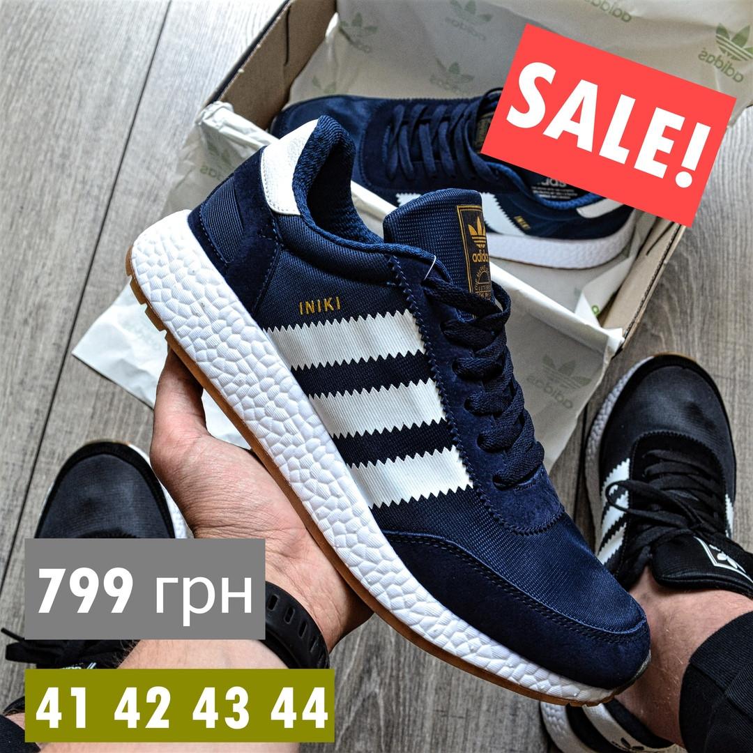 Мужские кроссовки Adidas Iniki Runner синий с белым летние весенние. Живое фото (Реплика ААА+)