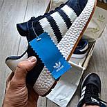 Мужские кроссовки Adidas Iniki Runner синий с белым летние весенние. Живое фото (Реплика ААА+), фото 5