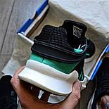 Мужские кроссовки Adidas EQT Support ADV черные с зеленым летние в сетку. Живое фото (Реплика ААА+), фото 4